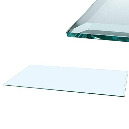 Euro Tische Glasscheibe Glasplatte Klarglas Rechteck 80 x 60 cm Glas für Tisch Tischplatte Glastischplatte Tischglasplatte - Facettenschliff, 6 mm Sicherheitsglas