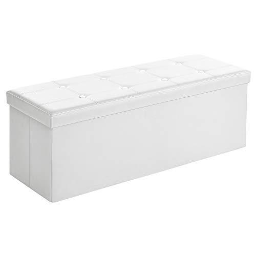 Songmics Baúl Puff - Taburete para almacenaje, Plegable Carga máxima de 300 kg, Blanco, 110 x 38 x 38 cm 🔥