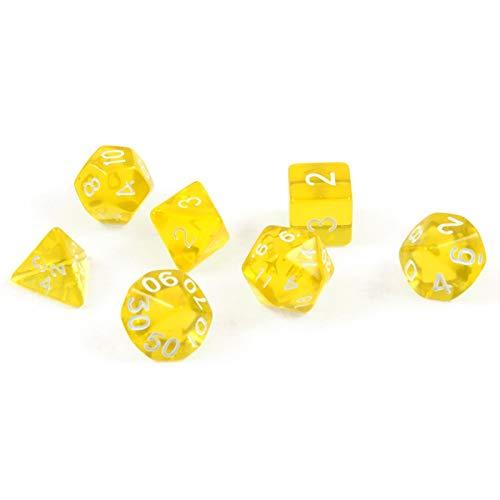 Shibby 60015382 - Set di 7 dadi poledrici per giochi di ruolo e tablet, colore: Trasparente Giallo con sacchetto