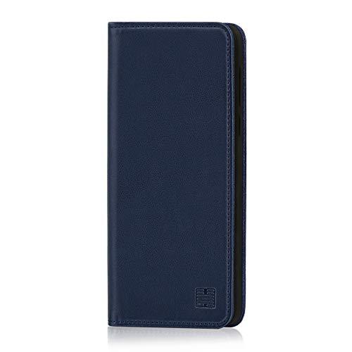 32nd Klassische Series - Lederhülle Hülle Cover für Motorola Moto G7 Play, Echtleder Hülle Entwurf gemacht Mit Kartensteckplatz, Magnetisch & Standfuß - Marineblau