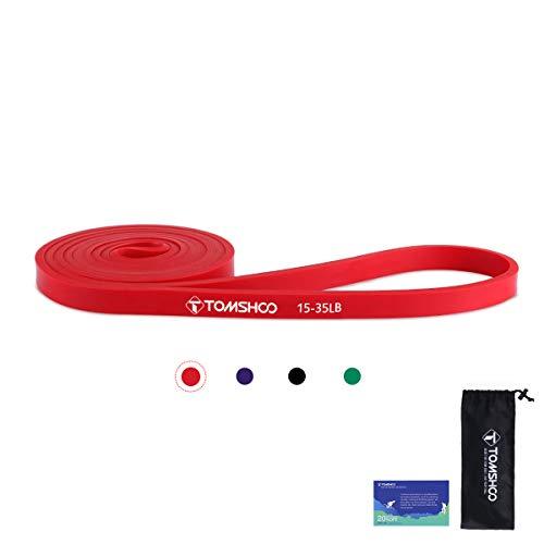 TOMSHOO Bandas de Resistencia Elástica, Cuerdas Elásticas de Fitness, Banda de Resistencia de Látex para Yoga, Pilates, Entrenamiento de Fuerza Muscular (Rojo)