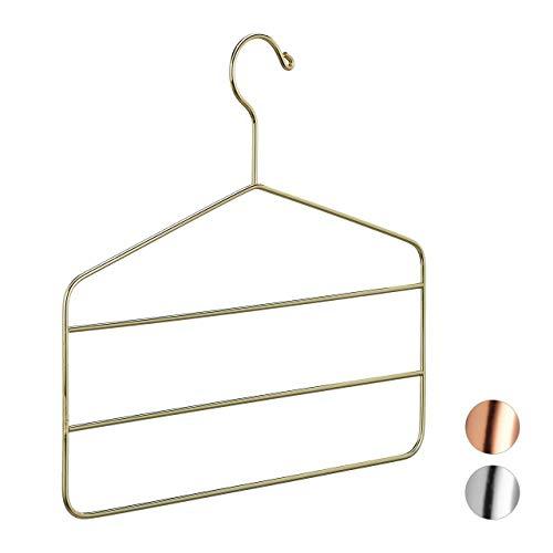 Relaxdays broekhanger, meervoudige beugel, broeken, rokken, sjaals, stijlvol design, ruimtebesparend, 4 mm, metalen kleerhanger, goud