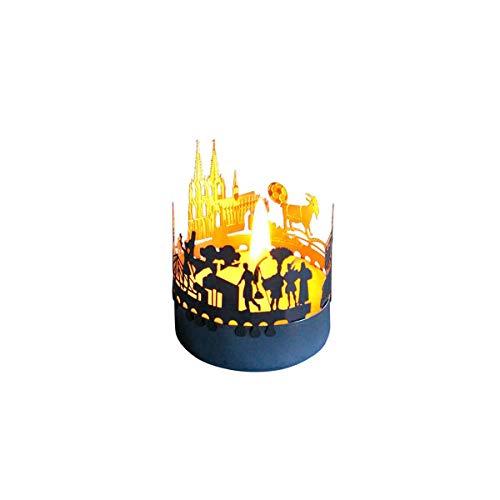 13gramm Köln-Skyline Windlicht Schattenspiel Souvenir, 3D Edelstahl Aufsatz für Kerze inkl. Karte