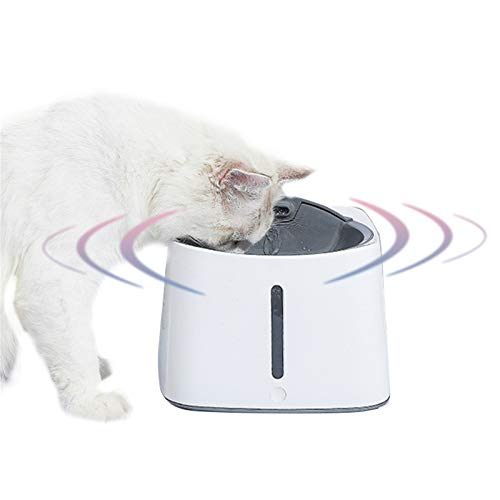 HWZZ 1.5L Pet Cat Drinking Fountain Pet Silent Drinking Fountain with Visible Window Suitable for Indoor And Outdoor, USB Power Supply,White