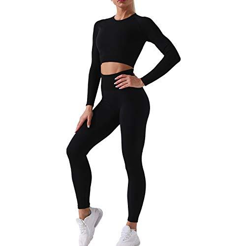 NIBESSER Sportanzug Yoga Trainingsanzug 2 Stücke Damen Sportbekleidung Nahtloser Langarm Sport-Tops Sport Bekleidungssets Frau Jogginganzug (Schwarz,S)