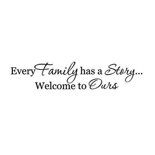 DNVEN Black Small 15 inches x 3 inches Every Family Has a Story Welcome to Ours Home Vinyl Handmade Wall Decals Quotes Sayings Words Art Decor Lettering Vinyl Wall Art