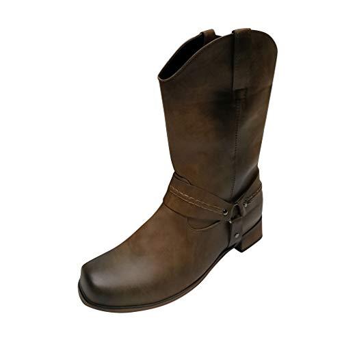 Kapian Cowboystiefel Herren Stiefeletten Outdoor Cowboy Boots mit Blockabsatz Ankle Boots Stiefeletten Biker Boots Cowgirl Western Spitz Zehen Halbhohe Stiefel Winterschuhe mit Trichterabsatz