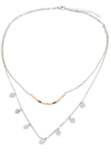 Musthaves dubbele ketting voor dames, parels en harten, lengte verstelbaar, 40-45 cm