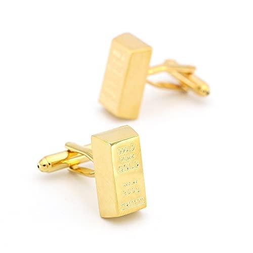 Diseño de Moda Dorado Gemelos de ladrillo para Hombres Calidad Material de Cobre Color de Oro Puños de Color, para Novio, Marido, Padre