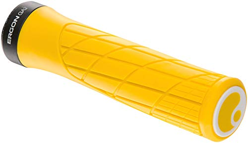 Ergon - GA2 Ergonomic Lock-on Bicycle Handlebar Grips | Standard Compatibility | for Mountain Bikes | Yellow Mellow