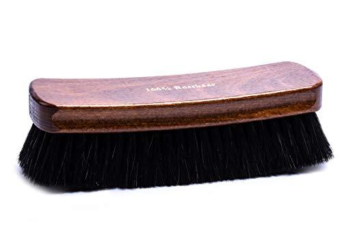 Lenzen extra große Schuhbürste I Maxi Glanzbürste mit 100% Rosshaar I Polierbürste für den perfekten Glanz Ihrer Schuhe (schwarz)
