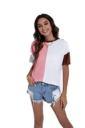 SLYZ Camiseta De Manga Corta De Moda De Verano para Damas Europeas Y Americanas Camiseta Suelta De Contraste con Costuras para Damas