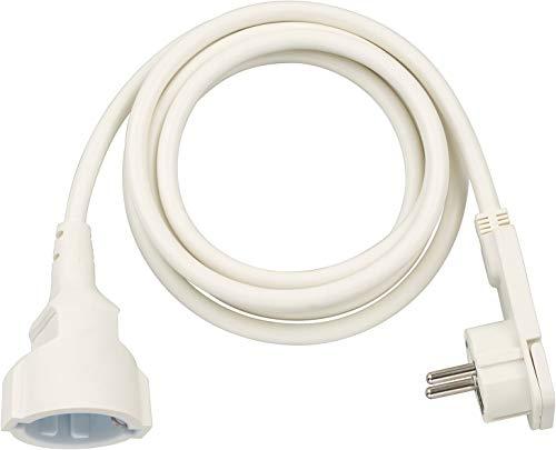 Brennenstuhl Qualitäts-Kunststoff-Verlängerungskabel mit Flachstecker (Verlängerungskabel flach für innen mit 2m Kabel) weiß