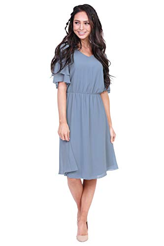 Claire Modest Chiffon Dress in Dusty Denim Blue - M, Modest Bridesmaid Dress in Dusty Blue or Denim Blue