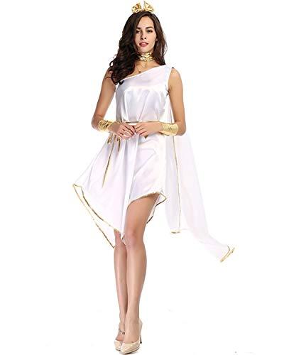 GEIUEIMAN Halloween-Kostüm-griechische Göttin Halloween weiße Göttin, die unregelmäßigen Langen Rock-Uniform-Satz fließt