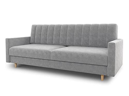 Schlafsofa Sara - Sofa mit Schlaffunktion und Bettkasten, Bettsofa mit Wellenfeder, Schlafcouch mit Holzfüße, Couch vom Hersteller, Couchgarnitur, Velours (Grau (Paros 05))