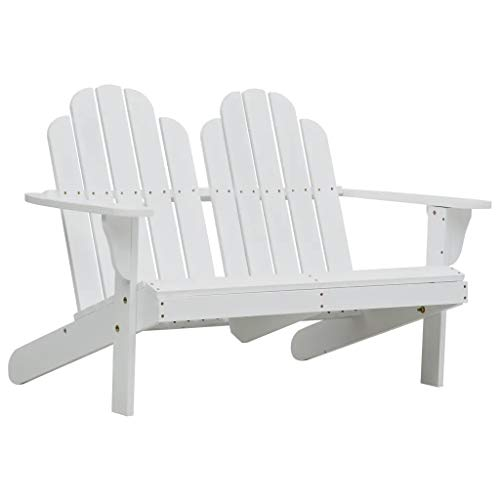 Sunlight - Silla de jardín doble Adirondack de 2 plazas para jardín o patio, madera blanca