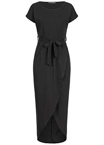 Styleboom Fashion® Damen Kleid Long Wrap Belt Dress Wickelkleid Sommerkleid schwarz, Gr:L