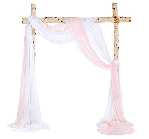 SHERWAY 2 Panels Chiffon Fabric Drapery Wedding Arch Drapes, Party Backdrop Curtain Panels, Ceremony Reception Swag Decoration (27 x 216 Inch, Pink & White)