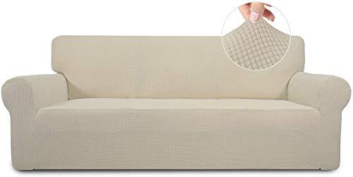 wolketon Elastischer Antirutsch Sofahusse, Stretch Spandex Couchbezug, (2 Sitze) Sofa Überwürfe, Sofahusse Sofa Abdeckung in Verschiedene Größe und Farbe (Beige)