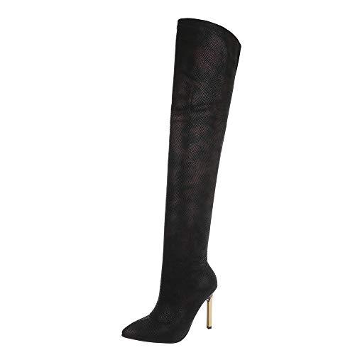 Ital-Design Damenschuhe Stiefel Overknees Synthetik Schwarz Rot Gr. 38