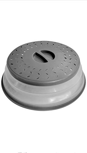 Collapsible Microwave Food Plate Cover-Vented-BPA Free-Food Grade Silicone Lid Grey