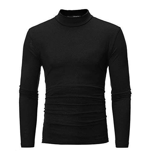 WELCO 2021 Nouveau Mode T Shirt Manches Longues Homme, Couleur Unie Pull Col Roulé Homme Automne Hiver Slim Tee Shirt Noir Homme Serré Sweat Homme Sport Sweatshirt Homme Souple Fitness Tops