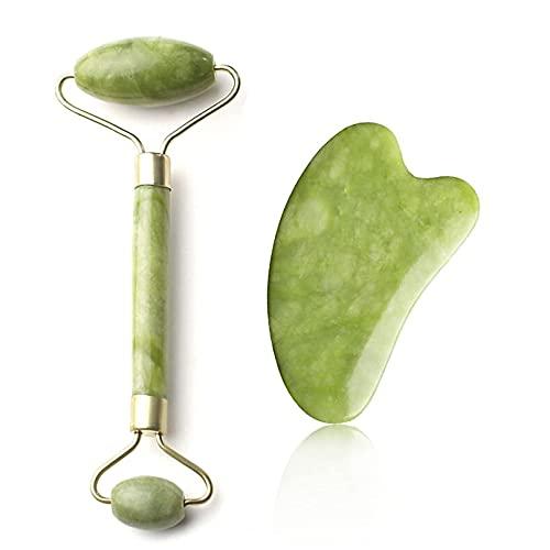 Rodillo de jade para la cara, juego de gua Sha, rodillo facial natural, masaje guasha y piedra de jade, para ojos, cuello, relajación muscular, regalo ideal para mujeres