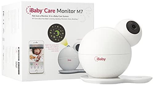 iBaby Care M7 (3e generatie) Video Babyphone mit Moonlight Projektlampe, 1080P HD, Temperatur-Feuchte-Überwachung, Geruchserkennung (vervuilde kleding / luiers), Weiß