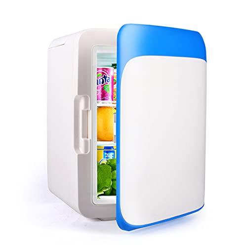 LHY Mini refrigerador de Doble Uso para automóvil doméstico de 10L, máscara de cosméticos de Frutas, refrigerador, medicamento, termostato de calefacción y enfriamiento,Azul