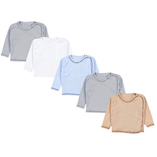 TupTam Camiseta Cruzada Manga Larga para Bebé Paquete de 5, Niño 2, 68