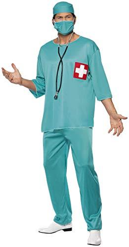 Chirurg Kostüm Grün mit Tunika Hose Haube und Mundschutz, Medium