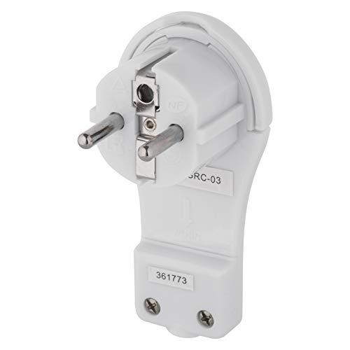 EMOS extraflacher Winkelstecker, Flacher Schutzkontaktstecker mit Lasche, Flachstecker/Schukostecker/Eurostecker mit Klappgriff, P0066-EMOS