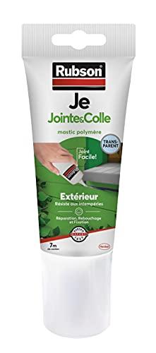 Rubson Je Jointe & Colle Mastic Transparent 150 ml, Mastic Étanche en Tube Prêt à l'Emploi, Mastic Polymère pour Collage, Réparation, et Rebouchage en Extérieur