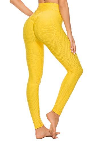 FITTOO Mallas Leggings Mujer Pantalones Deportivos oga Alta Cintura Elásticos Transpirables Amarillo S
