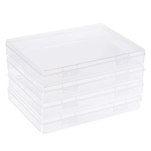 BENECREAT 4 Pack Caja de Almacenamiento Rectangulares de Plástico Transparente 22.5x16.5x3.3cm Estuche Grande con Tapas Abatibles para Artículos pequeños, Bolígrafo, Cuentas y Joyería