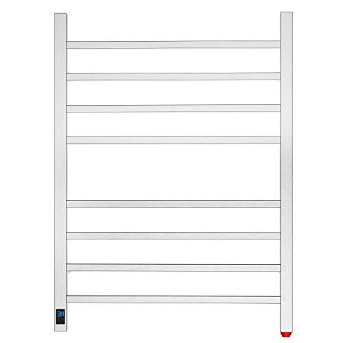 HEATGENE Towel Warmer with Timer and Temperature Control, Electric Towel Warmer with 8 Square Bars, Wall-Mounted Electric Towel Rack with 8 Square Bars, Plug-in/Hardwired Towel Rails - Brushed