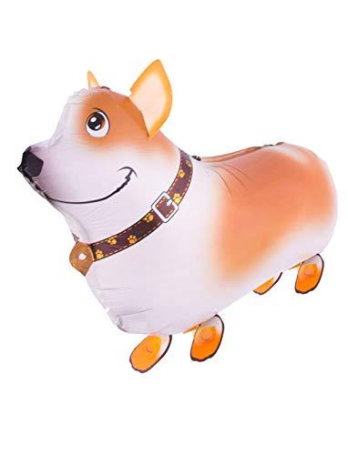 TrendClub100® Folienballon Luftballons Ballon - Walking Corgi Dog Gehender Hund - 23' 56 cm
