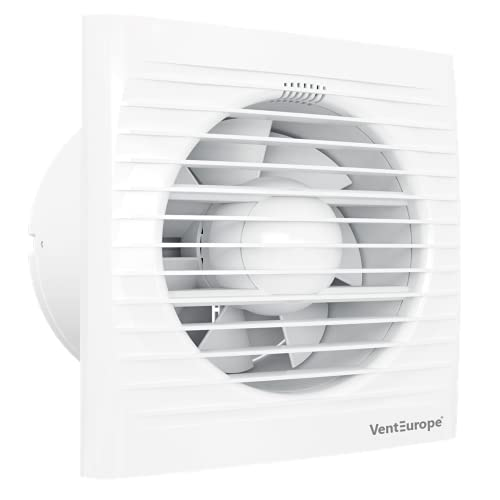 VENTEUROPE 125 mm Badlüfter mit Rückstauklappe+Moskitonetz,Luftzirkulation Leistung 183 m3 / h, 16-Watt-Elektromotor mit Überhitzungs-Wärmeschutz,Gute Qualität ABS-Material,5 Jahre Garantie