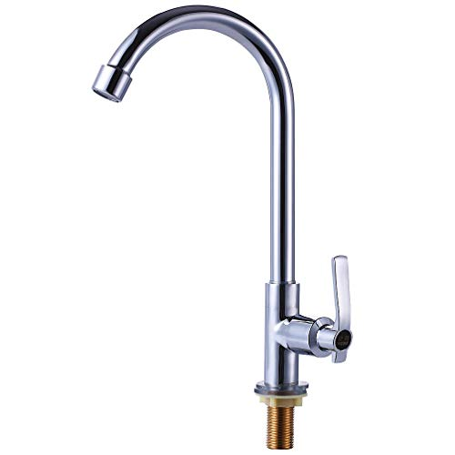 Cold Water Sink Faucet Single Handle One Hole High Arc Deck Mount Stainless Steel Bar Faucet for Kitchen Garden Outdoor Boat Camper Easy Install Chrome