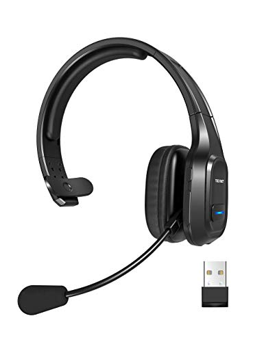 TECKNET Bluetooth Headset mit Mikrofon, PC Headset mit Rauschunterdrückung, Noise Cancelling Kopfhörer, Chat Headset für Call-Center, Handy, Büro, Zoom, Microsoft Team, Skype