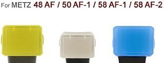Juego de 3 Difusores, blanco, amarillo y azul para Flash Metz 48 AF , 50 AF-1, 58 AF, 58 AF-2 Digital