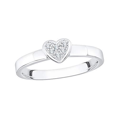 KATARINA Anillo de compromiso con forma de corazón de diamante engastado en plata de ley (1/20 quilates, J-K, SI2-I1), piedra preciosa de metal, diamante,