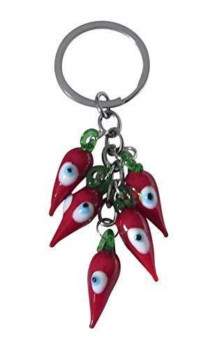 Schlüsselanhänger, Taschenschmuck, Chili, rot, mit Schutzauge, Schwanzhorn.
