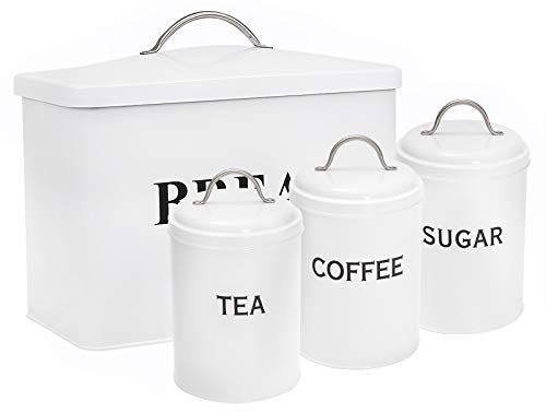 Xbopetda Bread Box & 3 Piece Kitchen Canister Set, Deluxe Food Storage Containers - Storage Container for Loaves Pastries Dry Food,Kitchen Countertop Space-Saving (White)