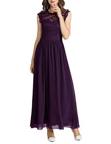 MuaDress 6056 Damen Retro Floral Lace Brautjungfernkleider Rüschen Hochzeit Maxi Kleid Grape S