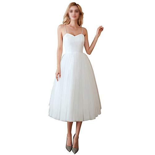 Bademode Hochzeitsfeier Cocktailkleid Damen Simple Sling Sleveless Mesh-Kleid Bikinis (Farbe : White, Size : US14)
