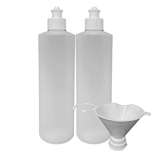 2 Pack Refillable 16 Ounce HDPE Squeeze Bottles With Push/Pull Button Top Dispenser Caps-Great For Lotions, Shampoos, Conditioners and Massage Oils From Earth's Essentials (White Cap)