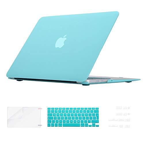i-Buy Funda Dura Compatible con Old MacBook Air 13.3 Pulgadas 2010-2017(Model A1369 A1466)+ Teclado Cubierta + Protector de Pantalla + Enchufe del Polvo - Turquesa