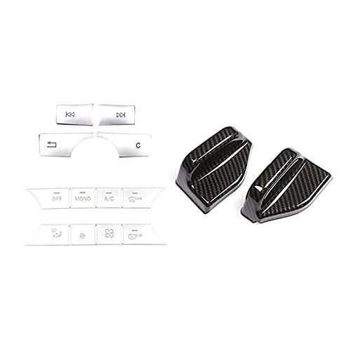 shiqi 2pcs Seggiolino auto Copertura della cintura di sicurezza Trim con auto multimediale Condizionatore d'aria Volume Pulsante Autoadesivo Cover Trim